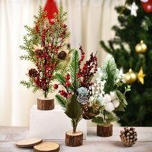 Mini árbol de Navidad de Año Nuevo, adorno de escritorio de cedro blanco con Flocado de pino pequeño, accesorios de tiro DIY, Escena de decoración de Navidad