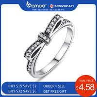 Bamoer quente 925 prata esterlina espumante arco nó empilhável anel micro pave cz para presente do dia dos namorados feminino jóias pa7104