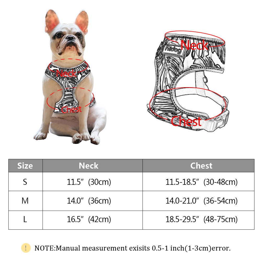 Breathable French Bulldog Harness Printed Reflective Dogs Harness Puppy Small Medium Dogs Cats Vest For Pug Walking Training