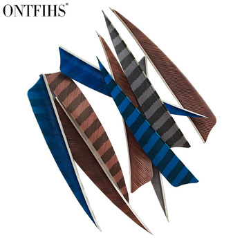 36 Pcs/Lot ONTFIHS 5 Inch Feathers Shield Cut Hunting  Arrow Vane Stripe Archery Fetches Arrow Turkey  Feathers Fetching 3