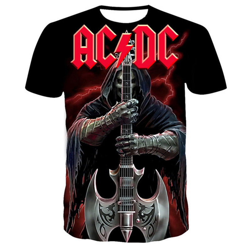 Summer 3D AC/DC Letter Printing Men T-shirt Oversized T-shirt Rock Band Tops T-shirts Harajuku O-Neck Breathable Size 100-6XL