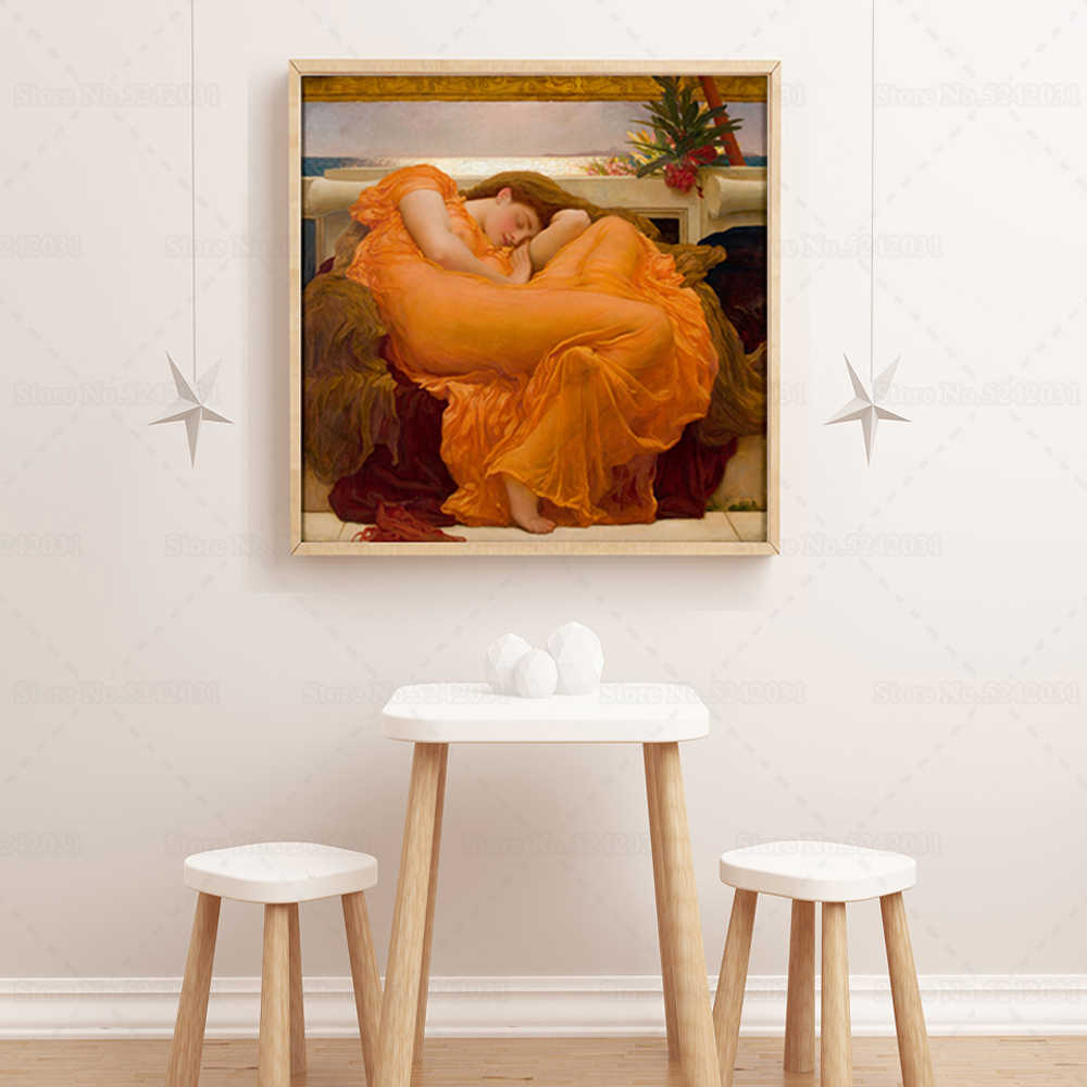 Flaming June Famous Canvas Painting Classicism Famous Art By Frederic Leighton Portrait Of Sleeping Nymph Wall Art Decoration Painting Calligraphy Aliexpress