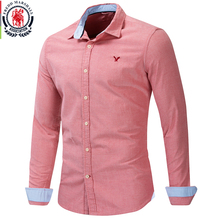 Fredd Marshall 2019 New 100% Cotton Eagle Embroidered Shirt Long Sleeve Business Casual Classic Dress Shirt Brand Clothing 210