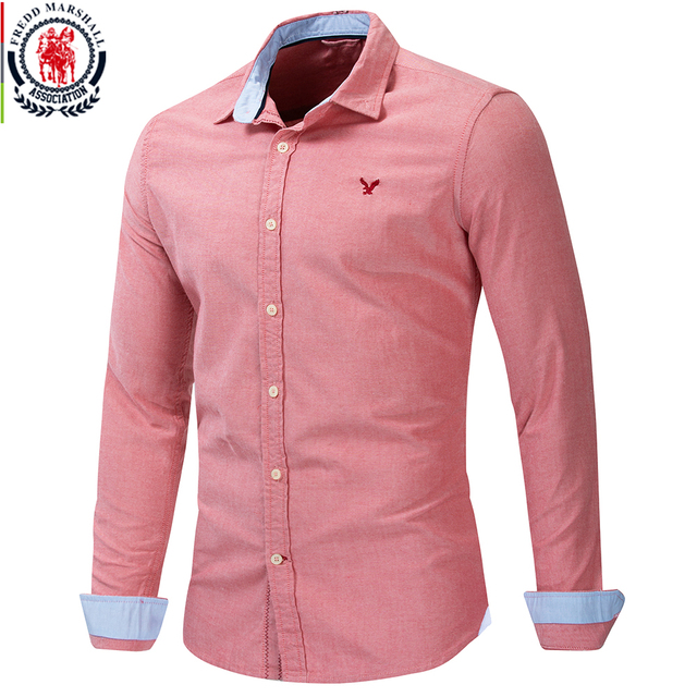 Fredd Marshall 2019 yeni % 100% pamuk kartal işlemeli gömlek uzun kollu iş rahat klasik elbise gömlek marka giyim 210