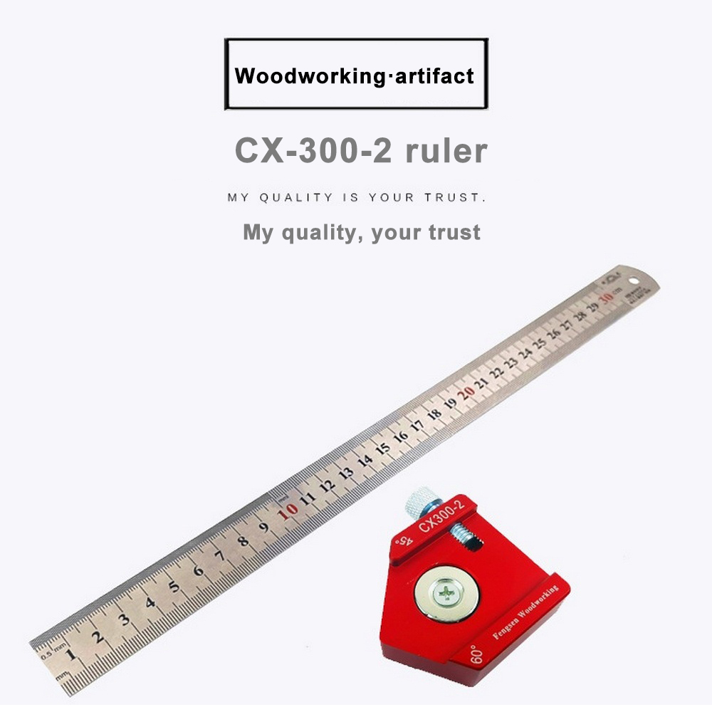 CX300-2  Aluminum Alloy 300mm Scale Measure Scribing Ruler Woodworking T-type Hole Ruler Marking Tool Hand Tools Set