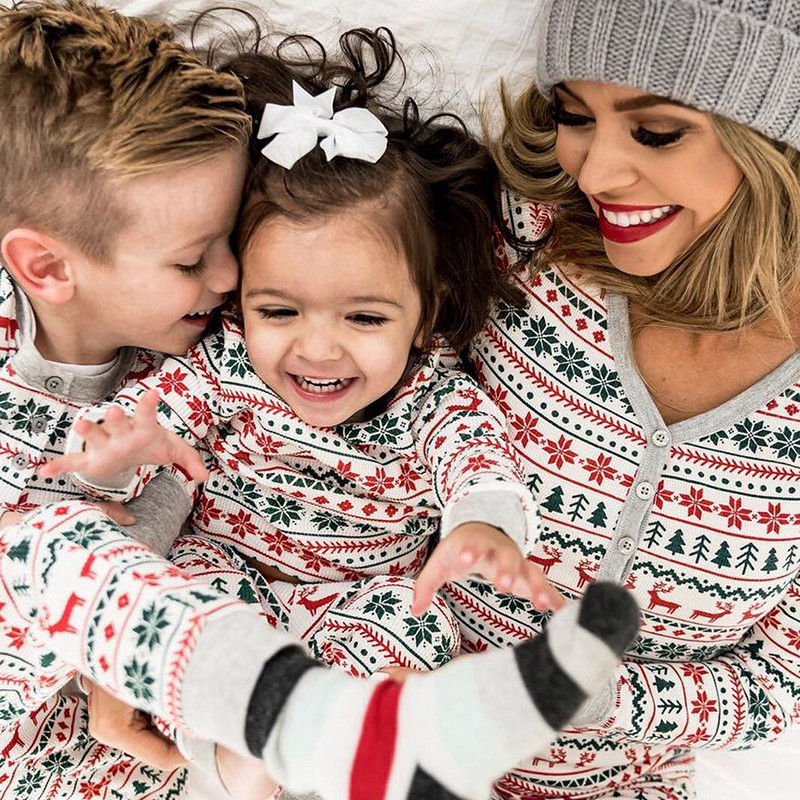 Family Christmas Pajamas Set Dad Mom Baby Kid Clothes Elk Snowflake Printed Parent-child Suit Long Sleeve Home Sleepwear Outfits
