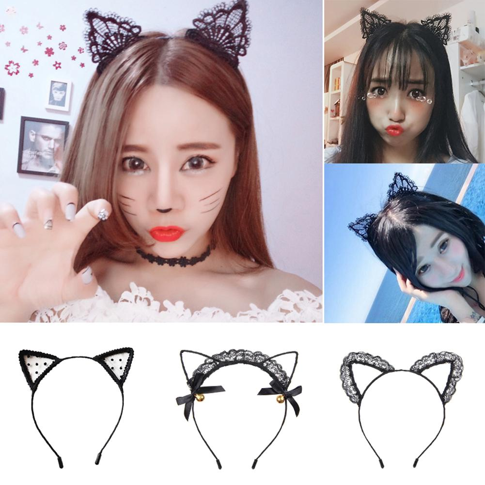 Clothes Accessories Lace Women Sexy Headband 1PC Girls Black Lovely Ear Head Chain Jewelry Holiday Polyester Headband