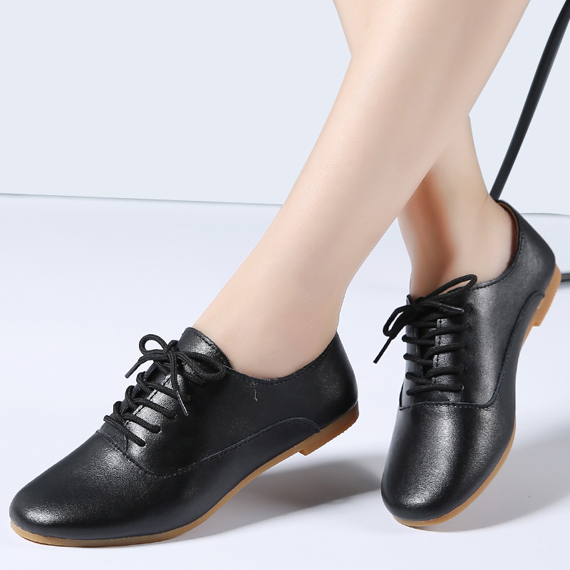 STQ Women Flat Shoes Ladies Black Shoes Women 2020 Spring Fashion Genuine Leather Mother Shoes Lace Up Casual Oxfords Shoes 051