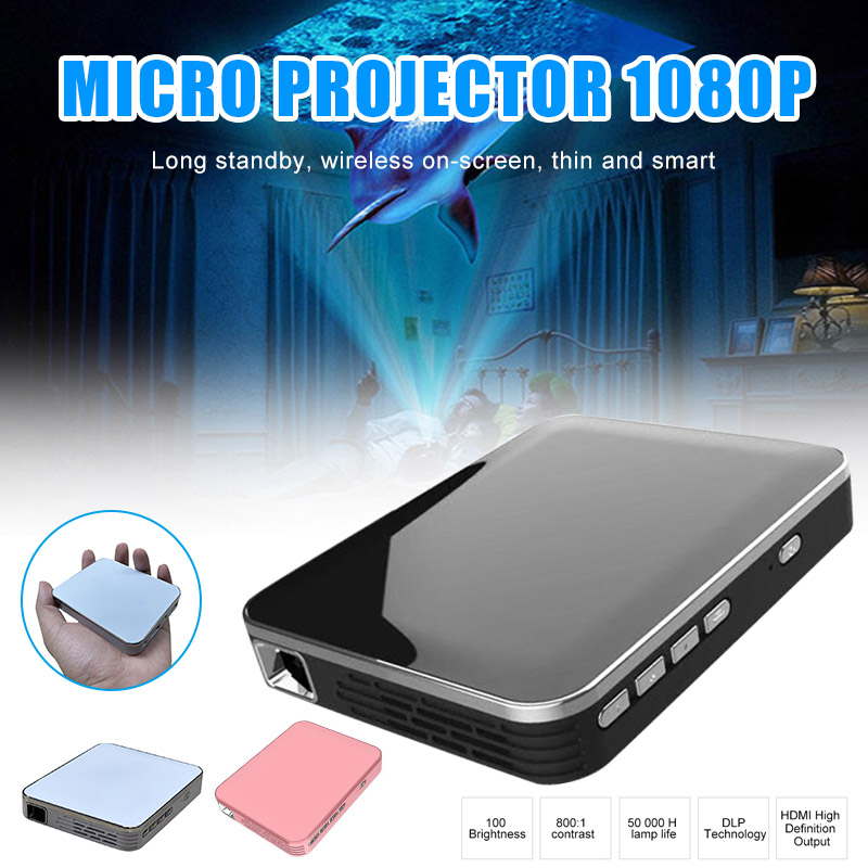 Mini projecteur vidéo Portable pour Home cinéma privé poche HD sans fil téléphone criblage PUO88