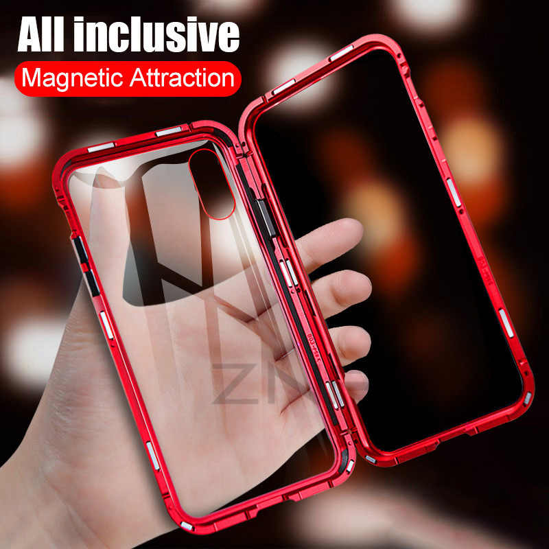 ZNP Magnetic Adsorption Metal Phone Case For iPhone 6 6s 8 7 Plus X Xs Max Magnet Magnetic Cover For iPhone XR XS MAX Glass Case