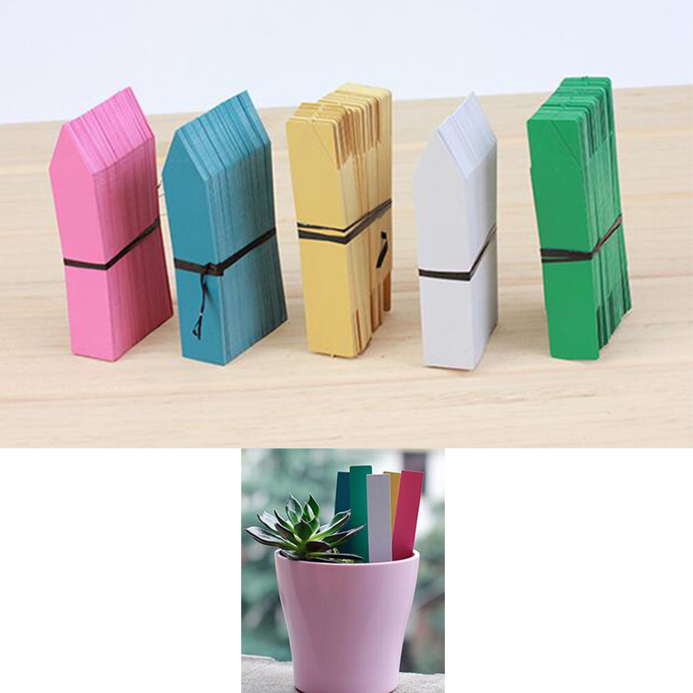 100pcs Plastic Many Colors Stake -type Kindergarten Plants Labels Flower Pot Thick Tag Marker For Plants Garden Ornaments