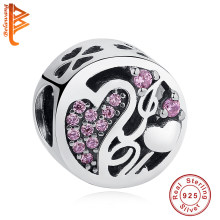 100% Authentic 925 Sterling Silver Pink Crystal I Love You Clover Heart Bead Charm Fit Original Pandora Bracelet Jewelry Making(China)