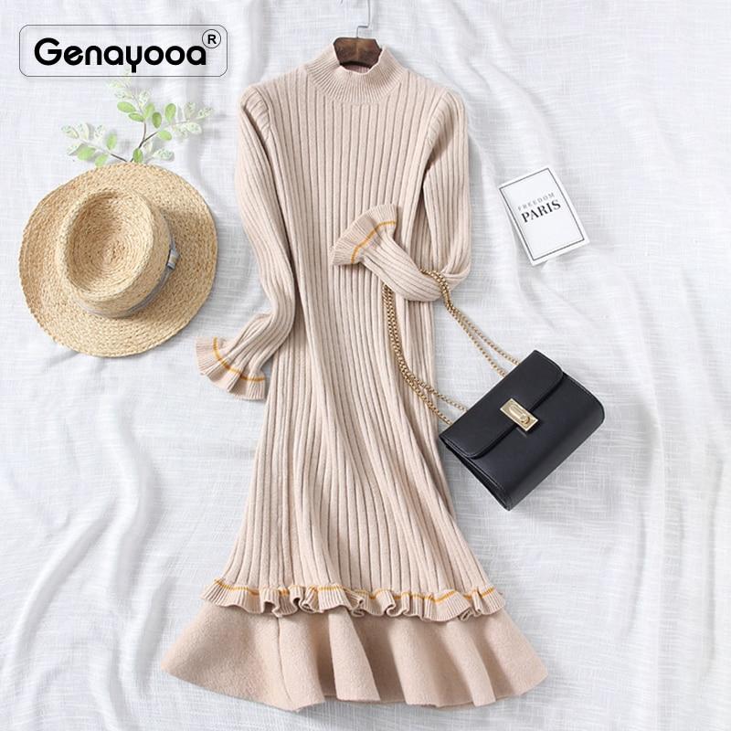 Genayooa 2019 Women Dress Elegant Knitted High Quality Winter Dresses Casual Fishtail Dress Long Sleeve Mid Calf Vestidos Female 42