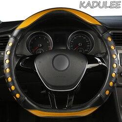 KADULEE Microfiber Leather Car Steering Wheel Cover For Hyundai i20 i30 i40 Tucson Solaris ix35 Creta Santa fe Kona Elantra