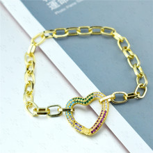 Fashion Love Heart Chain Bracelets Rainbow/With AAA Cubic Zircon New Design Copper Women Bangle for Christmas Party Gift 1PC