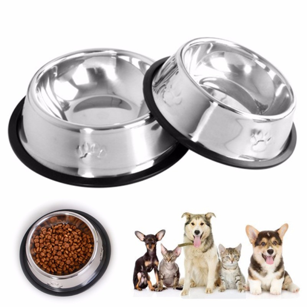 New Dog Bowls Cat Stainless Steel Travel Footprint Feeding Feeder Water Bowl For Pet Dog Cats Puppy Outdoor Food Dish 3 Sizes
