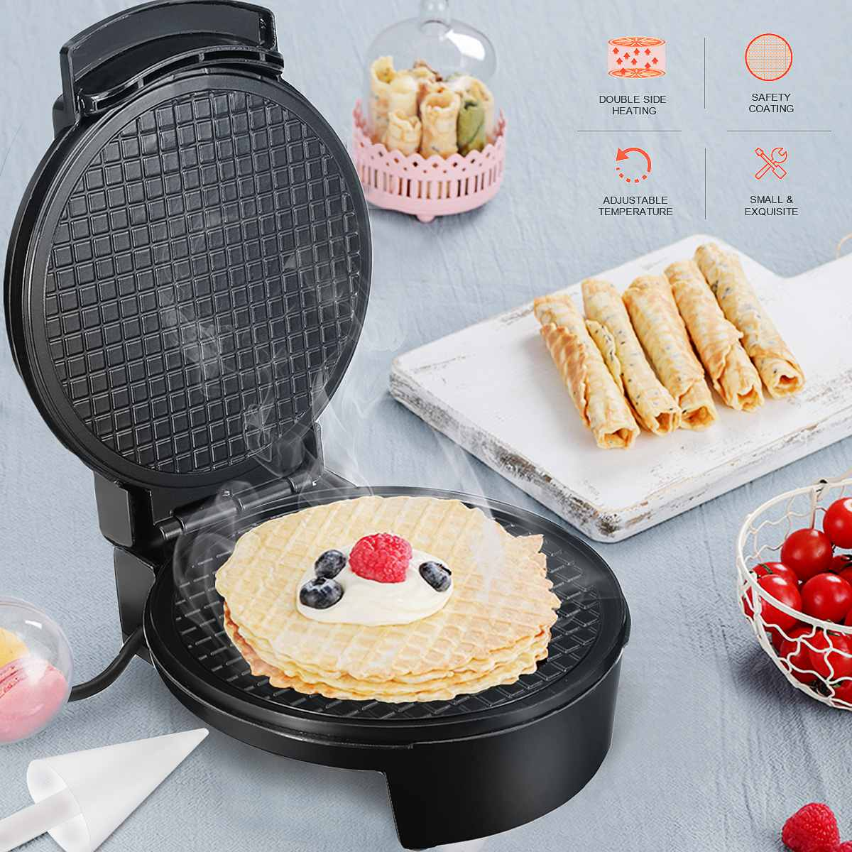 LED Electric Eggs Roll Maker Crispy Omelet Non-Stick Baking Pan Waffles DIY Ice Cream Machine Automatic Temperature Control