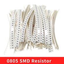 1280 pces 5% 0.125w 0805 smd resistor 64 valores 0ohm-10mohm sortimento kit