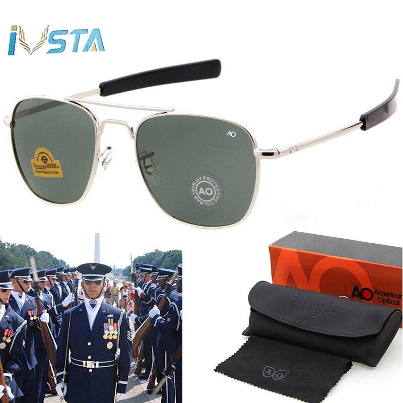 AO óculos de Sol Piloto Homens Do Exército Americano de Aviação Militar Marca Condução Óculos de Sol Para Lentes de Vidro do Sexo Masculino com Caixa Original