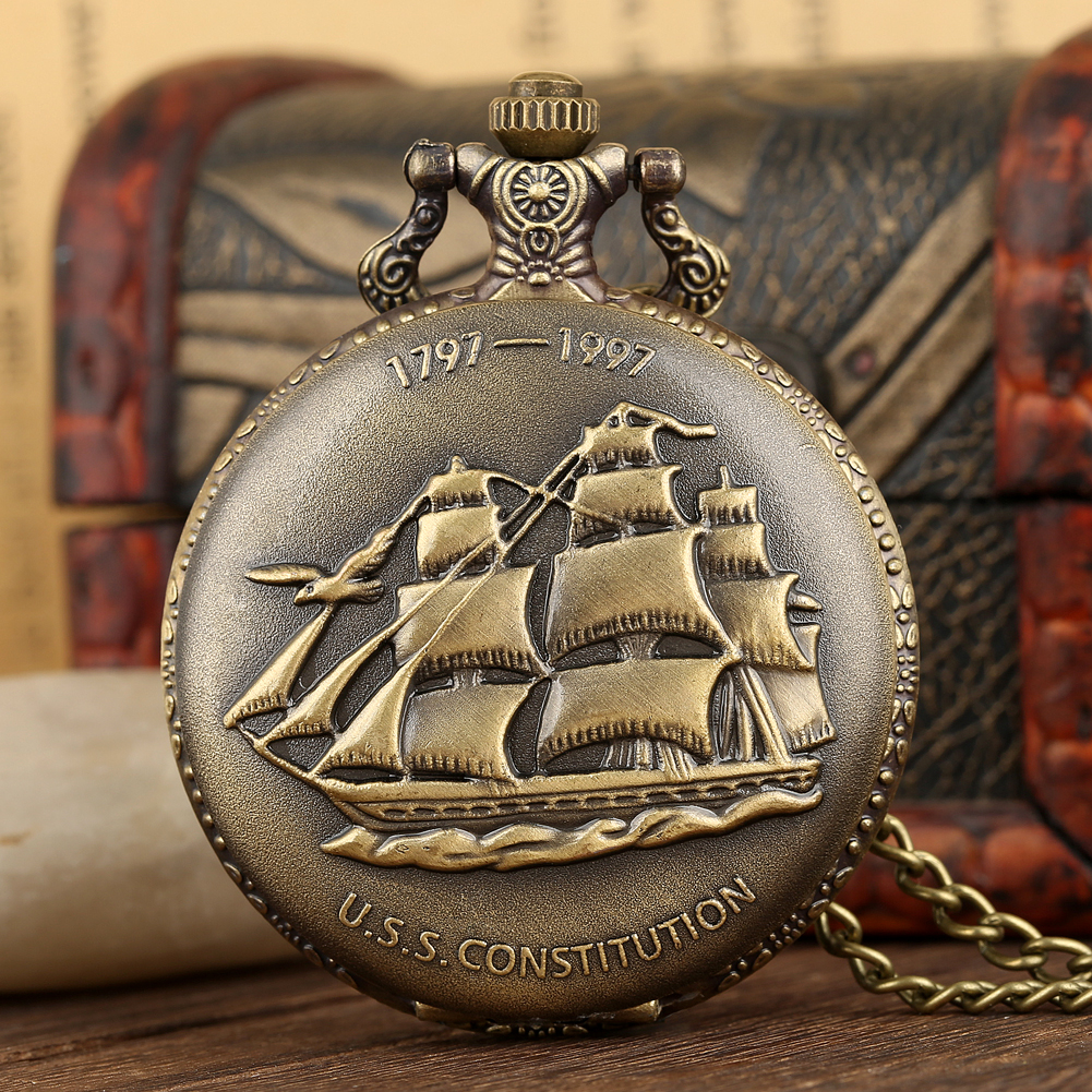 Vintage Shipping Bronze Canvas Boat Quartz Necklace Pocket Watch With White Dial And Chain For Men Women