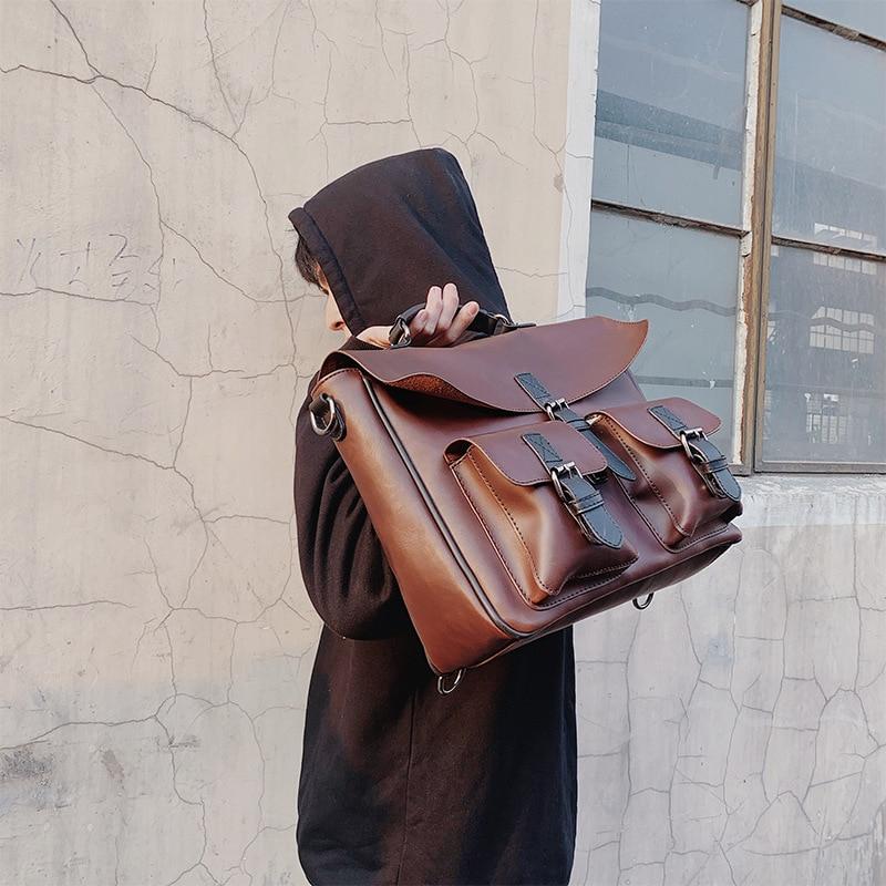 Retro Leisure Slant Carry Large Capacity Men's Bag Trend Bag Single Shoulder Bag Men's Handbag Briefcase Crazy Horse Leather Bag
