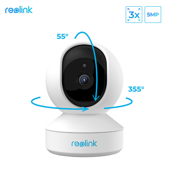 Reolink 5MP PTZ home security camera wifi 2.4G/5G 3x Optical Zoom Pan/Tilt 2-way audio indoor SD card slot remote access E1 - discount item  46% OFF Video Surveillance
