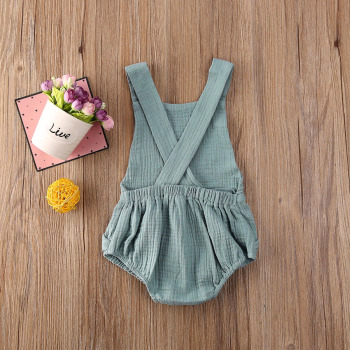 Sleeveless Cotton and Linen Backless Bodysuit -blue-