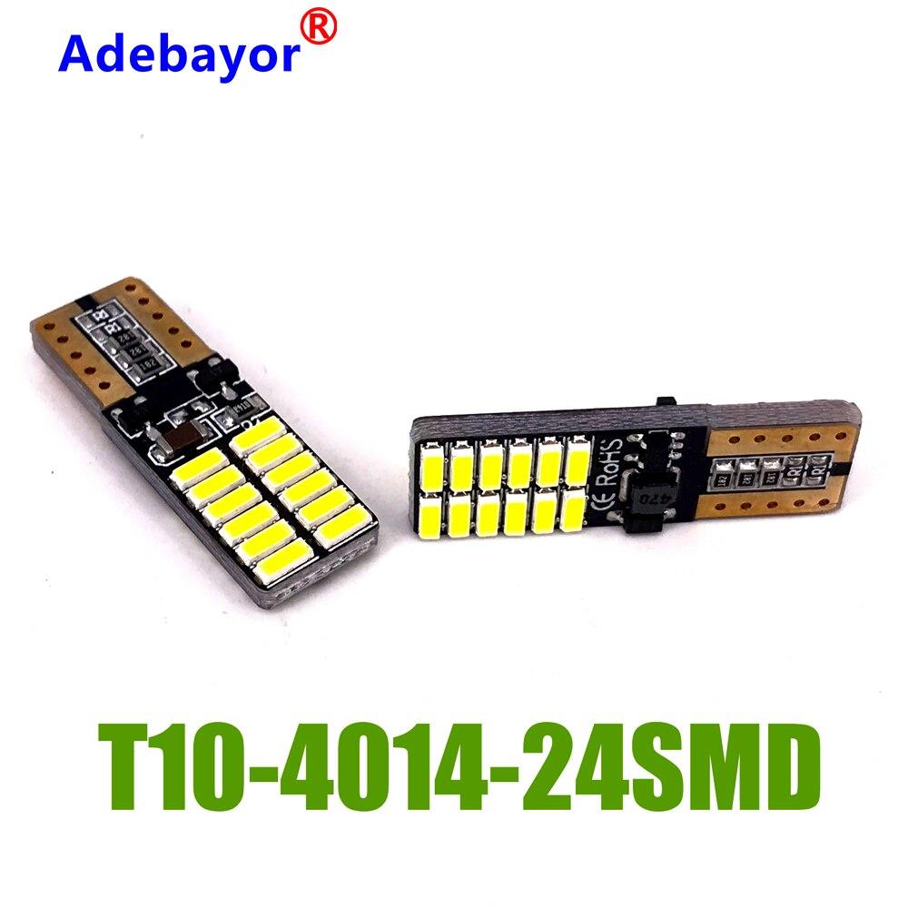 100 шт. T10 светодиодный авто лампы автомобилей с can-bus W5W 4014 24 SMD 3W 6000K Светильник-излучающие диоды для подавления переходных скачков напряжения ...