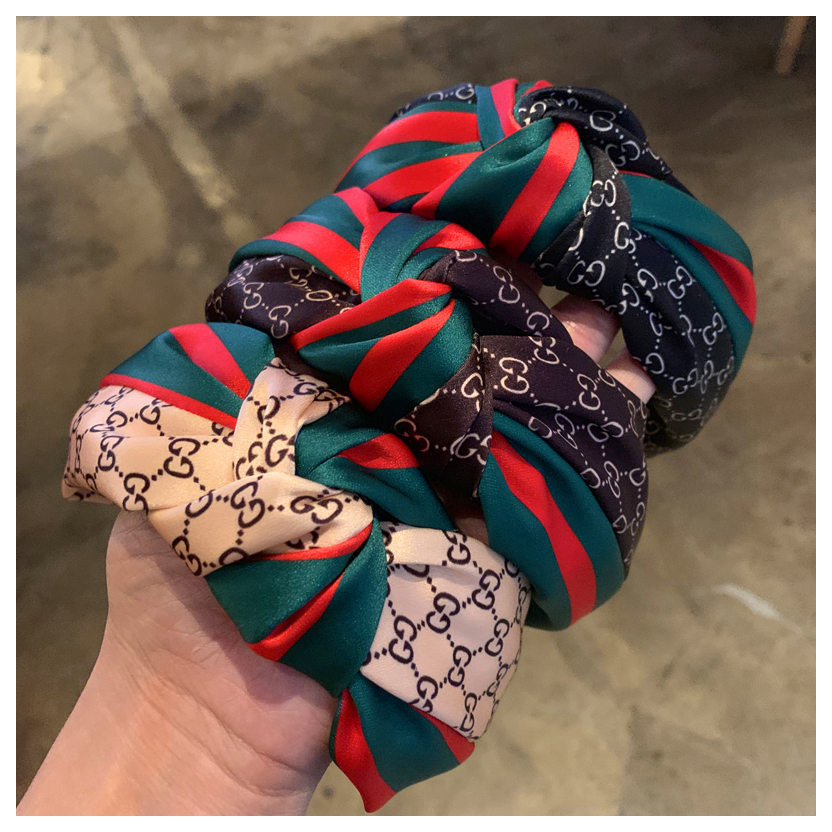 The New Women Are Fashion Headband Stripe Ribbon Hair Accessories Hair Band Net Red Middle Knot Wide Head Hair Band Headband