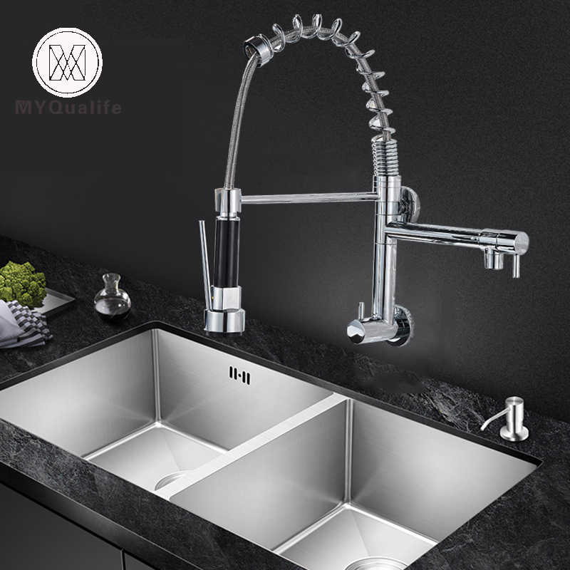Wall Mount Spring Kitchen Faucet Handheld Spout Cold Water Kitchen Tap Dual Swive Spout In Wall Bathroom Kitchen Washing Faucet
