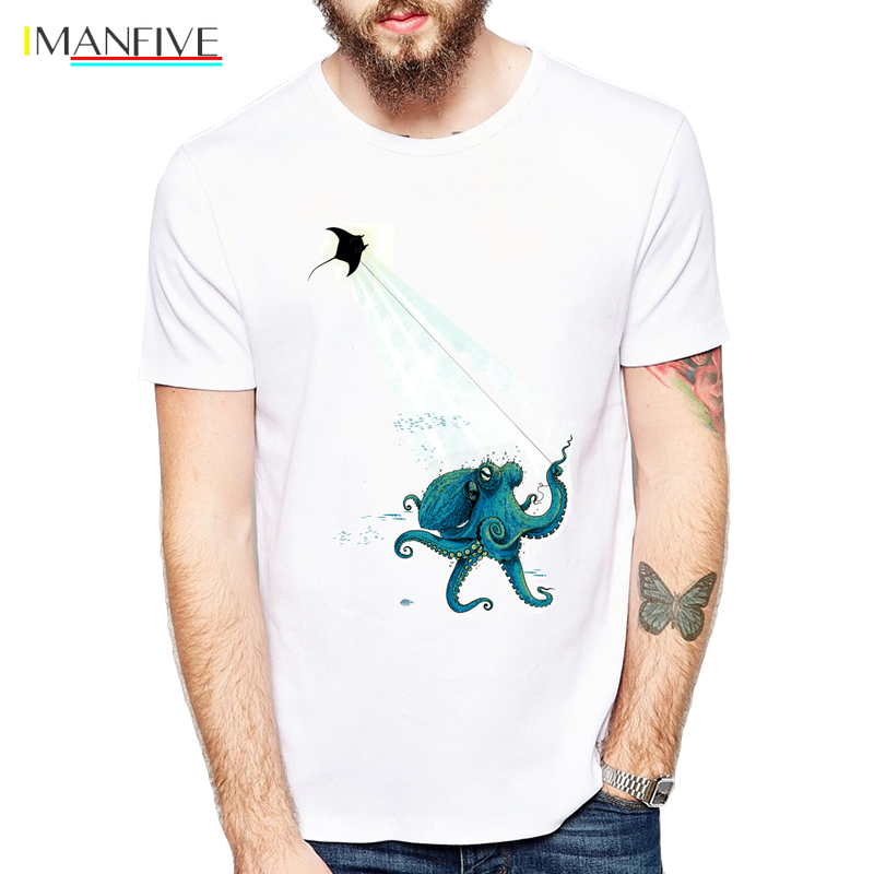 Octopus and devil rays Kite Flying T Shirts Men casual Top Cool animal design T-Shirt For Adult Tshirts Clothes