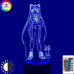 С рисунком из аниме «Сейлор Мун» 3D светодиодный ночной Светильник для Украшения в спальню, детям, подарок на день рождения ночник в морском стиле ночник Луна светильник Прямая доставка гаджет