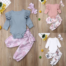 3Pcs Newborn Baby Girl Clothes Tops Romper Ruffle Pants Autumn Spring Winter Outfits Set