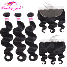 Funky Girl 3/4 bundles with frontal Peruvian Body Wave Human Hair Lace Frontal Closure With Bundles Non Remy Frontal With Bundle