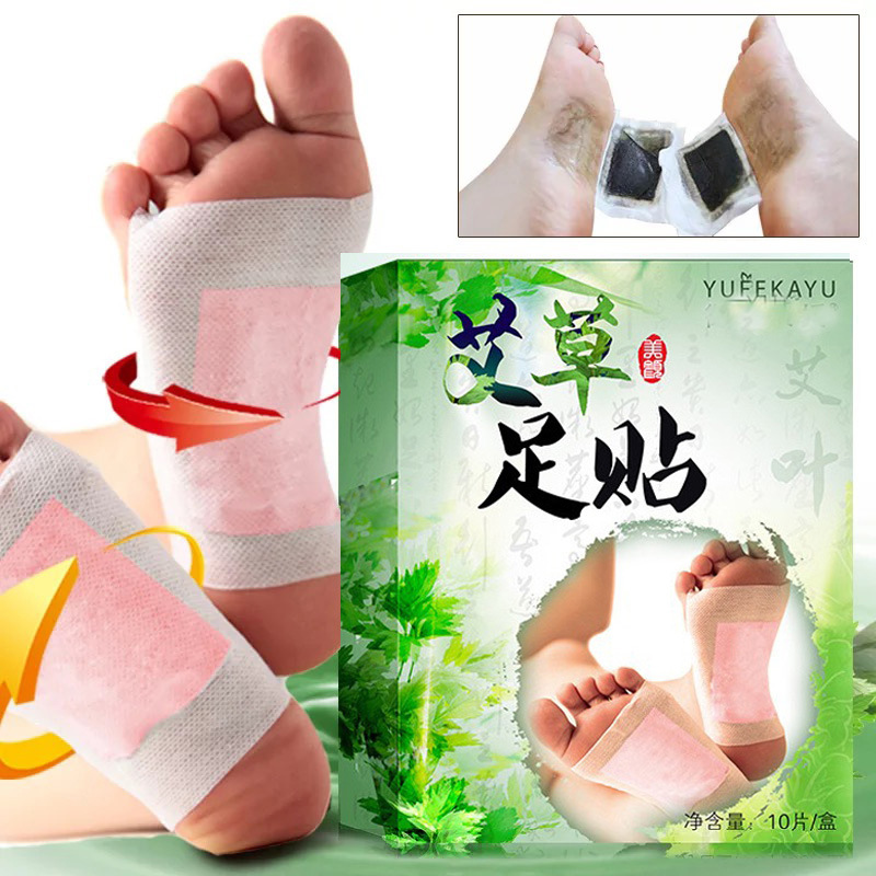 10pcs Moxa Detox Foot Patches Pads Body Toxins Feet Slimming Cleansing Herbal Adhesive  Foot Patch Personal Health Care