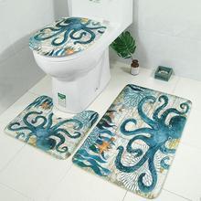 Ocean Sea Theme Printed Shower Curtain & Waterproof Non-slip Bathroom Curtain and Mat Rug Set Bathroom Accessories skid resistant sea wave bathroom rug