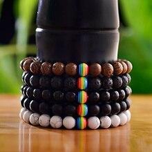 Радужный Браслет из бисера для мужчин и женщин, деревянные бусины, камень для гордыни, природный оксин-лава, энергетическая Йога, браслеты для женщин и мужчин