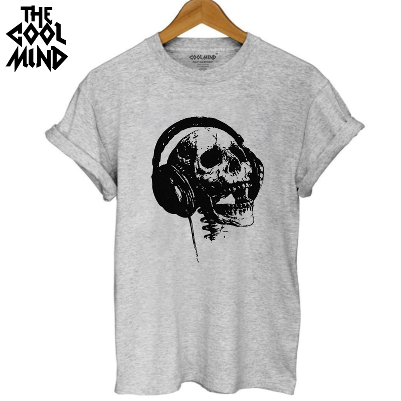 COOLMIND SK0220B 100% Cotton Casual Loose Skull Printed Women T Shirt Short Sleeve O-neck Cool Women T-shirt