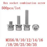 500Pcs m3*6/8/10/12/14/16/18/20/25/30/35 304 stainless steel hex socket cap head three combination screw