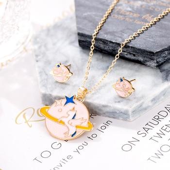 Cartoon Cute Pink Horse Unicorn Universe Necklaces & Pendants Gold Color  Enamel Necklaces Earring Set Fashion Jewelry Kids Gift-Leather bag