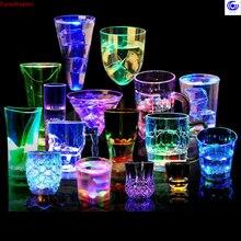 Светодиодный светильник с автоматическим мигающим датчиком, кружка для вина, пива, виски, Рюмка для свечения, для рождественской вечеринки, бара, клуба, дня рождения, посуда для напитков