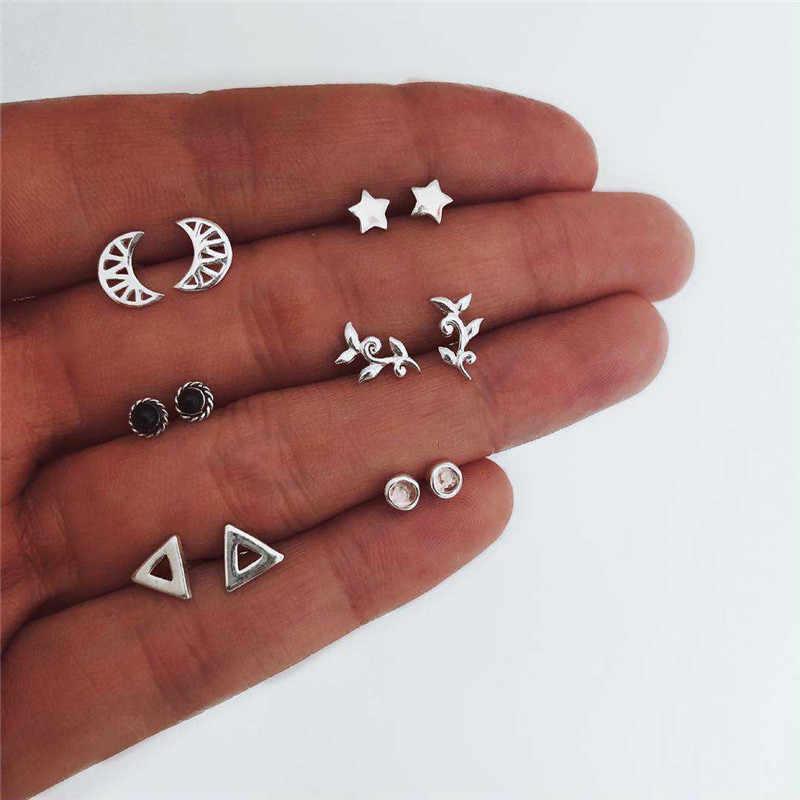 6 Set/pair Minimalis Bintang Bulat Kristal Stud Anting Anting-Anting Perak Chic Warna Bulan Segitiga Alloy Anting-Anting untuk Wanita Perhiasan