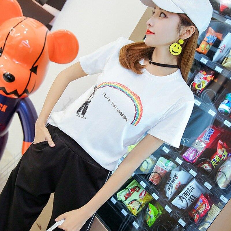Women's T-Shirt Short-Sleeve Rainbow Loose-Style Cartoon-Print Fashion Sweet