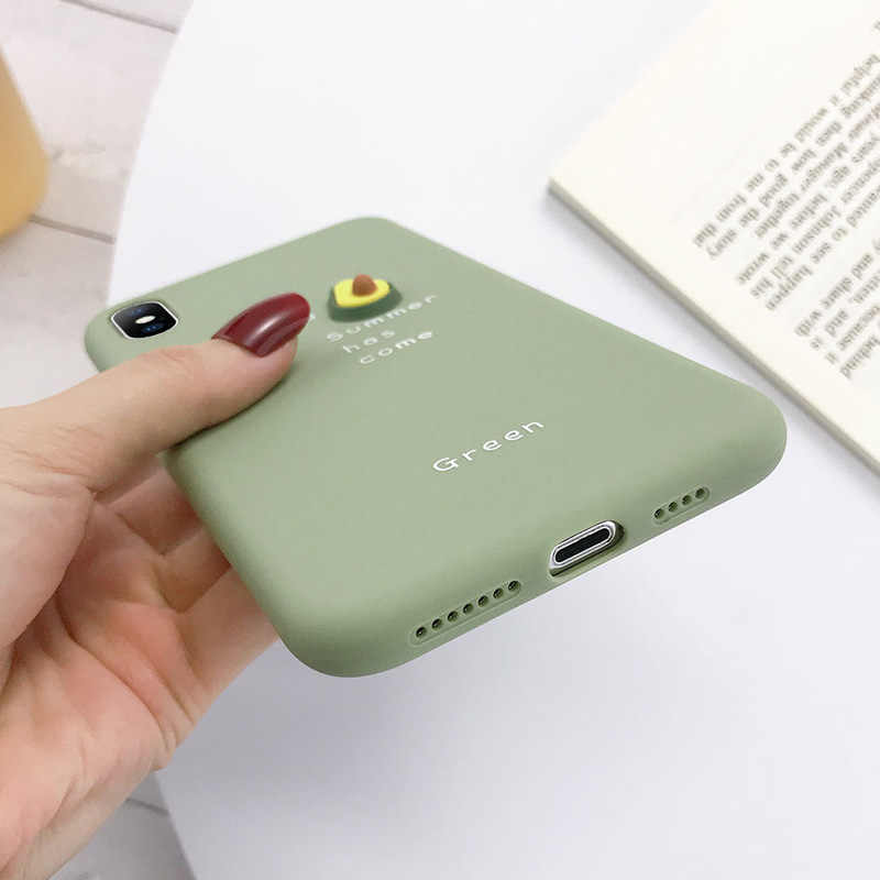 USLION мягкий чехол для телефона с объемными буквами авокадо карамельного цвета для iPhone 11 Pro XS MAX XR X Силиконовый чехол для iPhone 7 6 6S 8 Plus