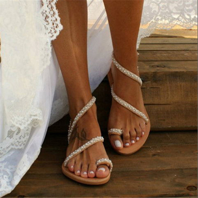 Summer Flat Sandals Sweet Boho Pearl Decoration Sandals Leather Flats Plus Size Women Beach Sand Holiday Shoes 3