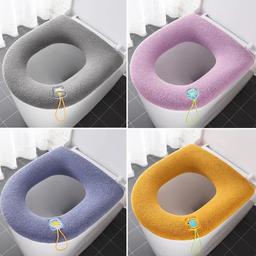 4 Colors Soft Toilet Seat Cover Set Bathroom Accessories Toilet Seat Pad
