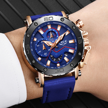 LIGE Men Watches Male Business Date Chronograph Waterproof Quartz Watch Men's Sport Blue Leather Big Dial Military Watch Relogio reef tiger rt men sports watches quartz watch with chronograph and date big dial super luminous steel designer watch rga303