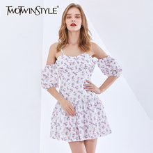 TWOTWINSTYLE Print Floral Mini Dress For Women Square Collar Lantern Sleeve High Waist
