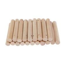 Varas de madeira inacabadas da haste de madeira do furo pré-perfurado para ofícios, 20 partes