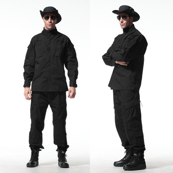 Black Tactical Uniform Durable Combat Uniform Set Trouser Hunting Suit with Jacket and Pants for Hunting Outside